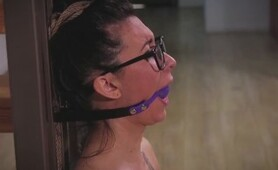 1 HOT GIRL WITH GLASSES PURPLE BALL GAGGED... AND ROPE BOUND