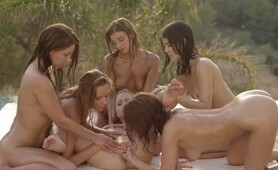 WOWGIRLS Melena A, Clover and Four More Wow Girls in Amazing Lesbian Orgy!